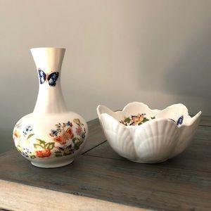 Aynsley Cottage Garden floral Bud Vase & Bowl